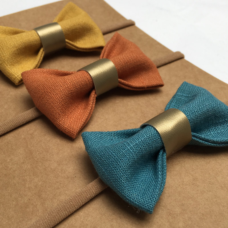 mustard-teal-trio bow set