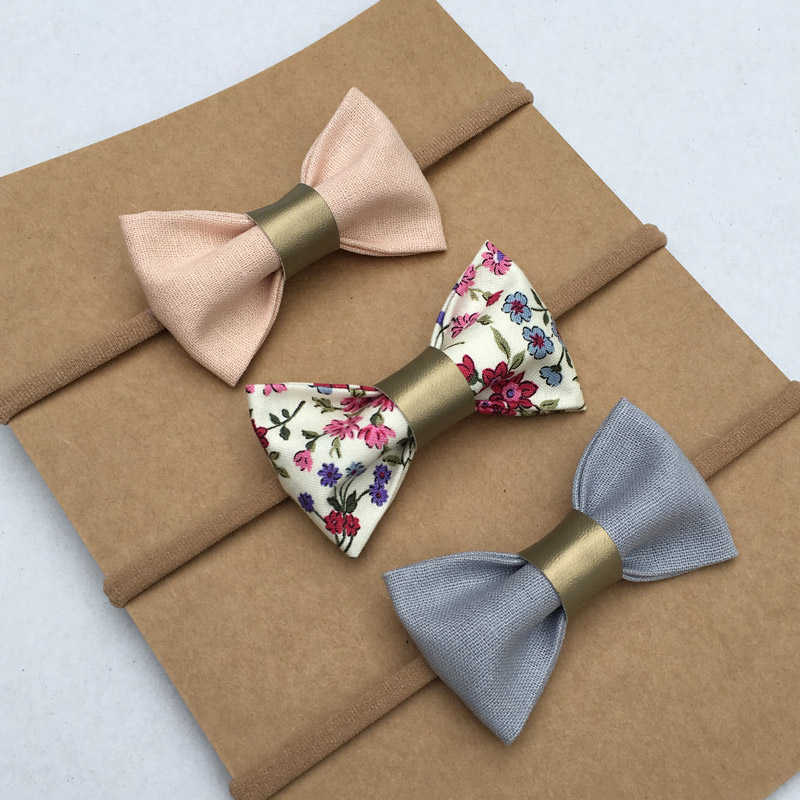 pink blue floral bow set
